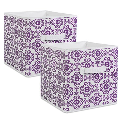 DII Foldable Fabric Storage Bins for Nursery, Offices, Home, Containers are Made to Fit Standard Cube Organizers, Small, Eggplant ()
