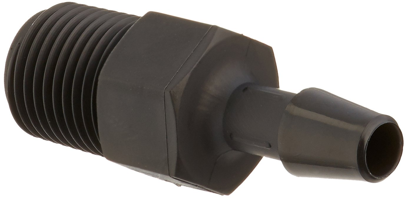 Eldon James A2-3BN Black Nylon Adapter Fitting, 1/8-27 NPT to 3/16'' Hose Barb (Pack of 10) by Eldon James