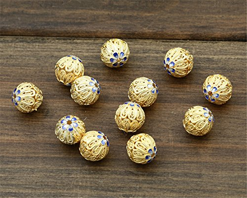 (MFMei 925 Sterling Silver Round Filigree Golden Plated Cloisonne Spacer Beads (TL003))