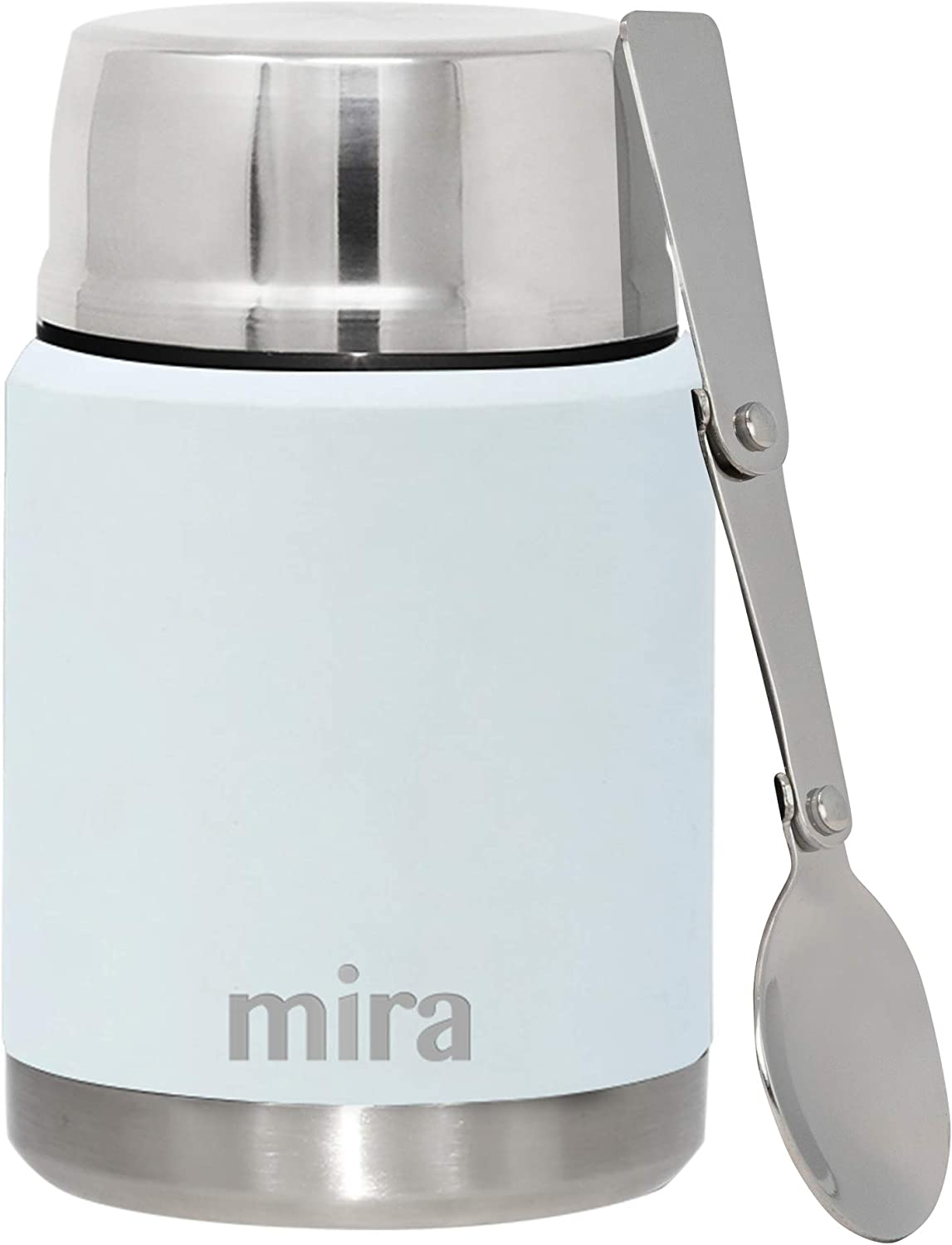 MIRA Lunch, Food Jar - Vacuum Insulated Stainless Steel Lunch Thermos with Portable Folding Spoon - 17 oz (500 ml) - Pearl Blue