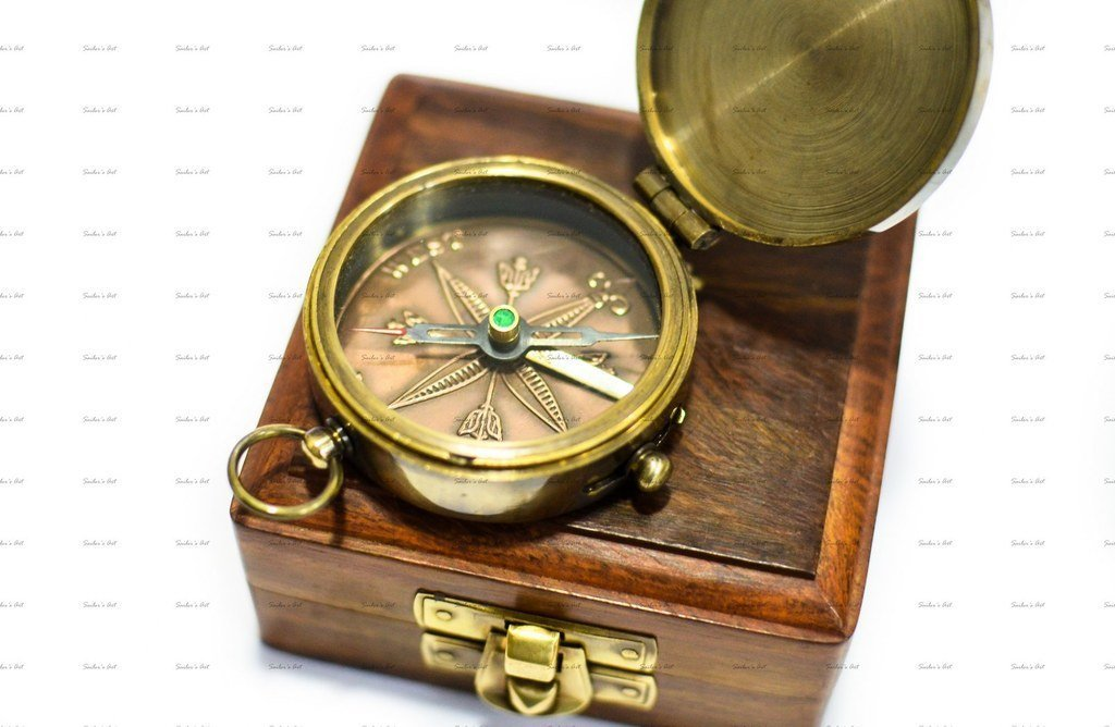 Maritime Compasses Clever Edward Pocket Leather Case Compass Rustic Brass Handmede Navigation Tool