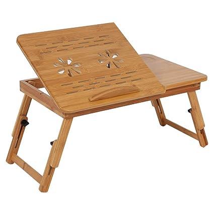 Tavolino Da Letto.Cocoarm Tavolino Da Letto Di Bambu Vassoio Da Letto Pieghevole Piano Inclinabile Regolabile In Altezza Scolpito A Cavita Per Ventilazione Per Pc
