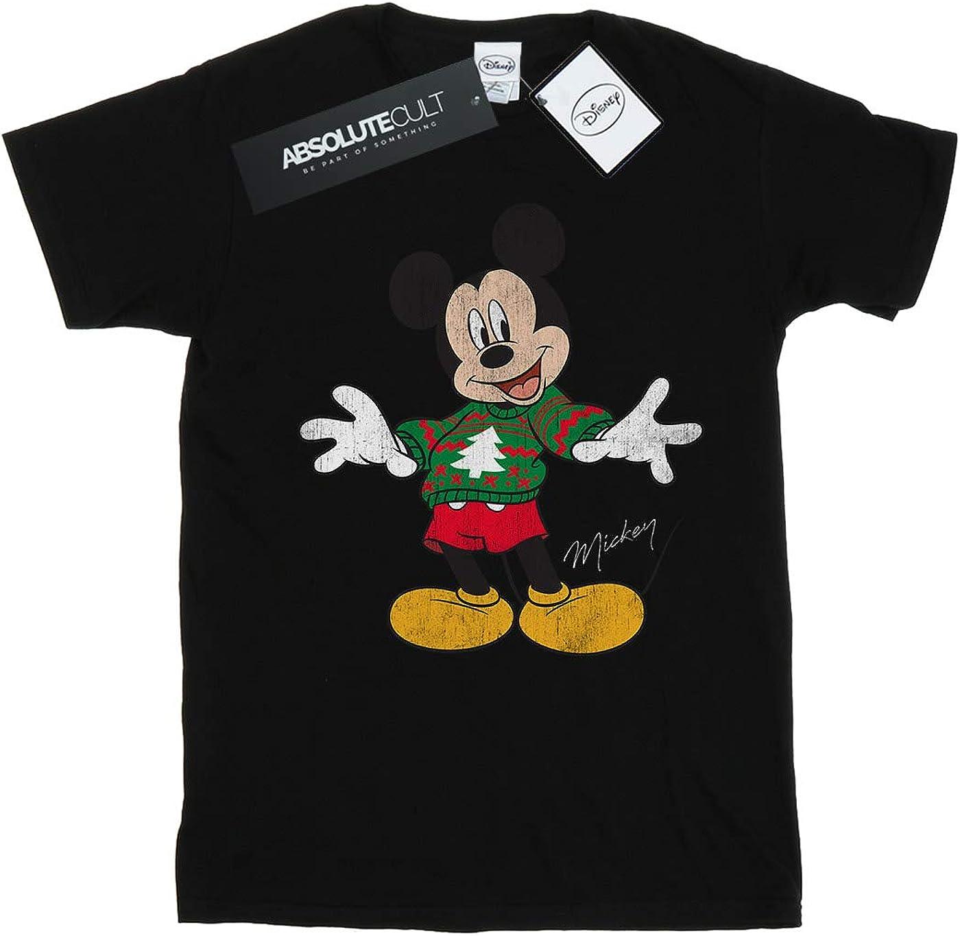 Disney Women's Mickey Mouse Christmas Jumper Boyfriend Fit T-Shirt Black