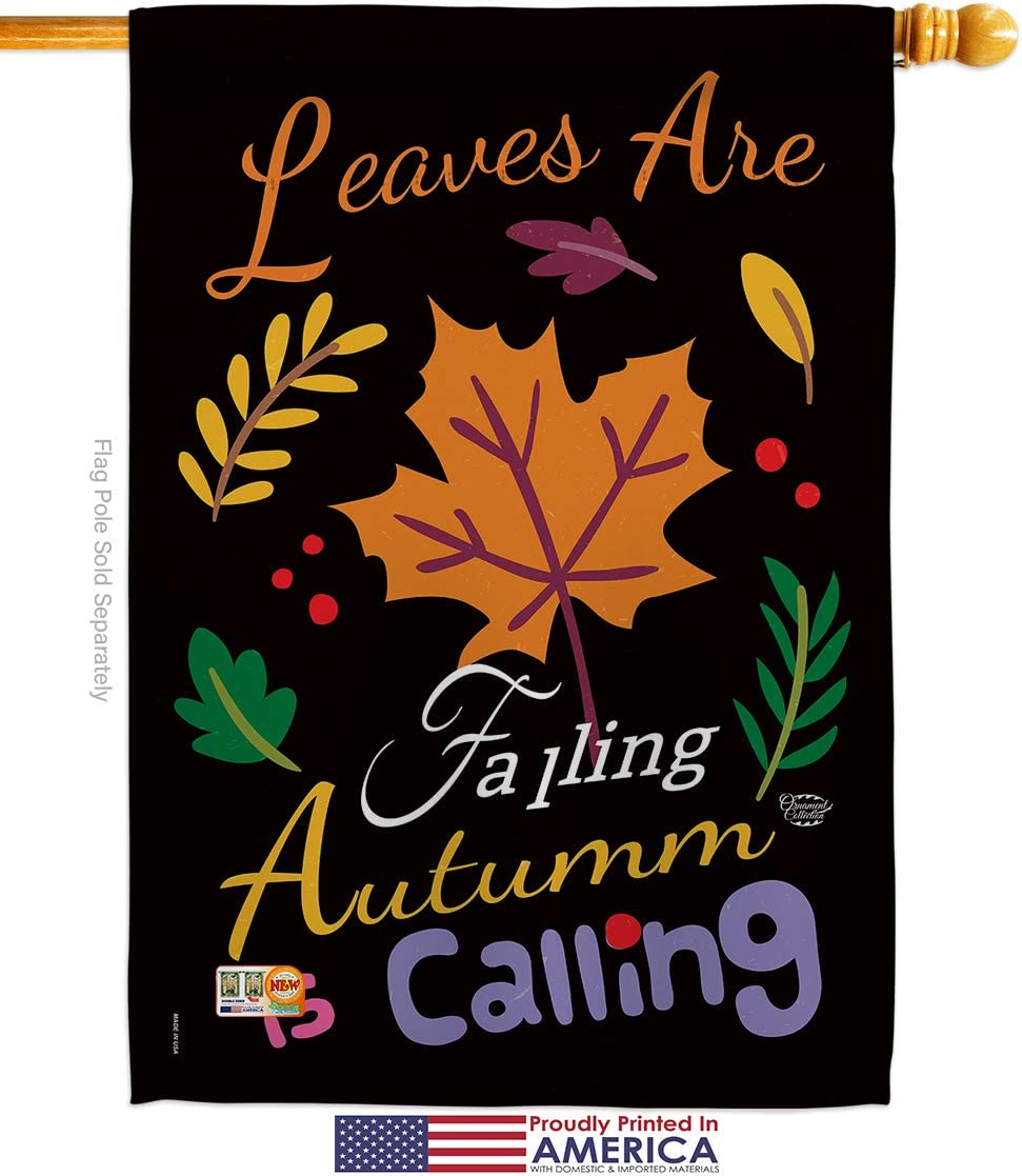 Ornament Collection Harvest Autumn Leaves Are Falling Garden House Flags Kit Fall Scarecrow Pumkins Sunflower Season Autumntime Gathering Small Decorative Gift Yard Banner Made In Usa 28 X 40