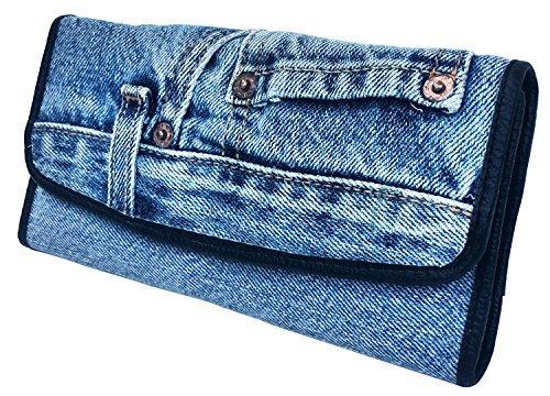 (Bijoux De Ja Women Blue Denim Money Flap Roomy Wallet Wristlet Purse Clutch BMW014)