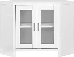 Monarch Specialties STAND-42 L/WHITE CORNER WITH GLASS DOORS Tv Stand