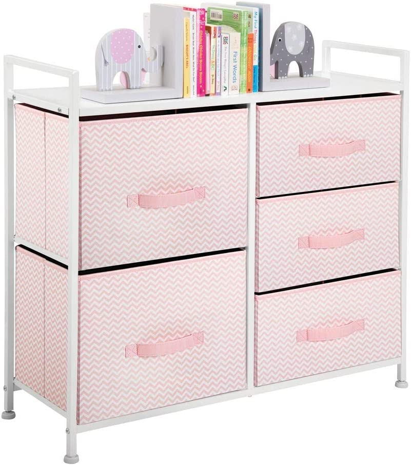 mDesign Wide Dresser Storage Tower Furniture - Metal Frame, Wood Top, Easy Pull Fabric Bins - Organizer for Kid's Bedroom, Hallway, Entryway, Closets, Dorm - Chevron Print, 5 Drawers - Pink/White: Home & Kitchen