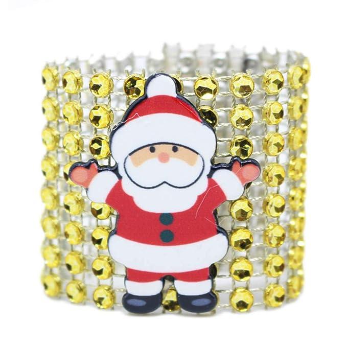 BESTOYARD 12pcs Anillos de servilleta de Navidad Servilletas Hebillas titulares para Decoraciones de Mesa de Comedor (Plata + Oro + Rojo): Amazon.es: ...