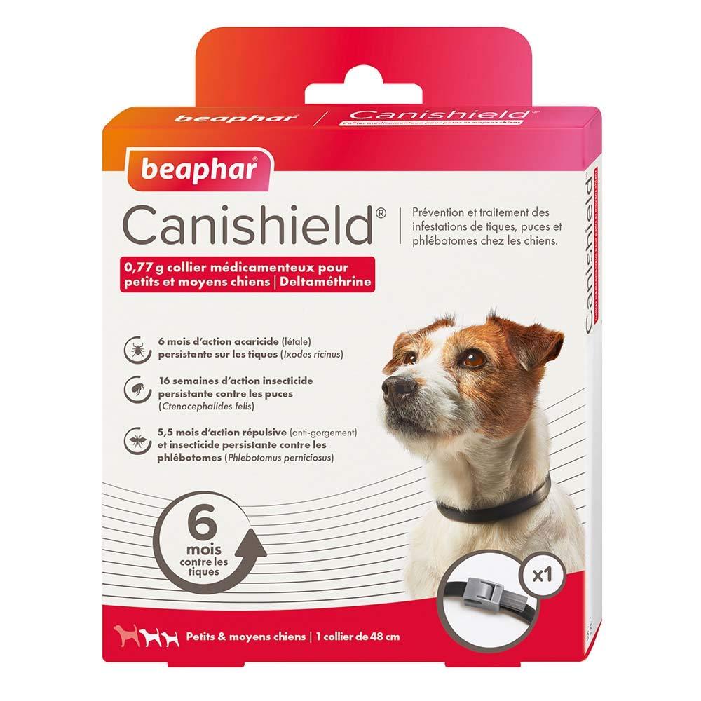 Beaphar - Canishield, Collier anti puces, anti tiques et anti phlébotomes - Chien de petite et moyenne taille - 1 collier 17207