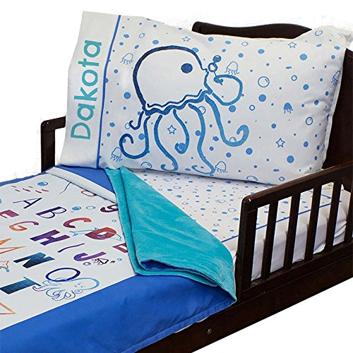 3pc RoomCraft A B Under the Seas Personalized Toddler Bedding Set Nautical Blanket Sheet and Pillowcase Set (Personalized Bedding Sets)
