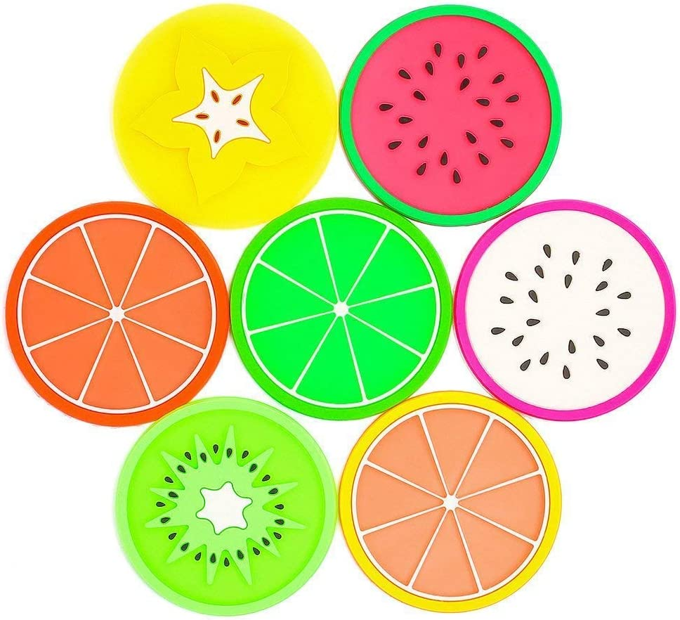 JASSINS Fruit Silicone Coaster,Non Slip Heat Insulation Coasters,7PCS Cute Slice Silicone Drink Cup Mat for Bar,Kitchen and Patio