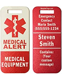 """Medical Alert Tag """"Medical Equipment"""" - Customized Engraved Info"""
