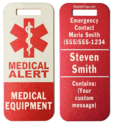 """Medical Alert Tag""""Medical Equipment"""" - Customized Engraved Info (Red)"""