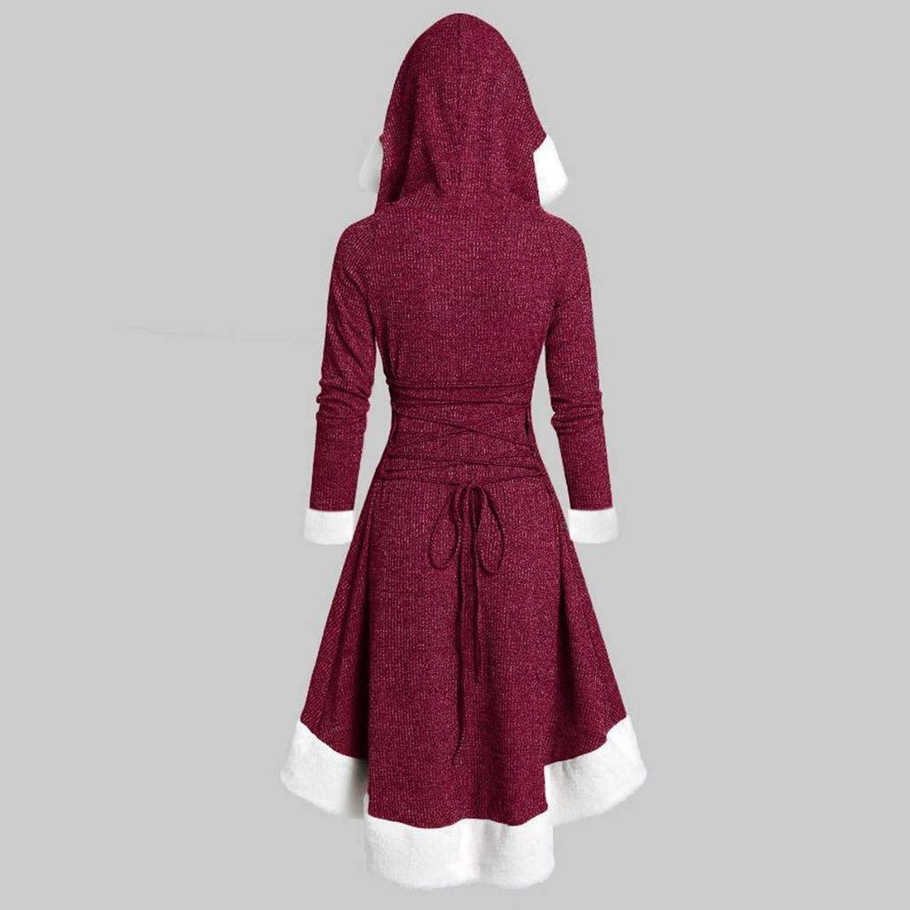 Mikilon Womens Christmas Party Mrs Claus Santa Xmas Velvet Hooded Cape Robe Dress with Fur Trim