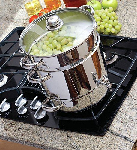 Home Kitchenware Euro Cuisine Stainless Steel Stove Top Steam Juicer w Recipe ()