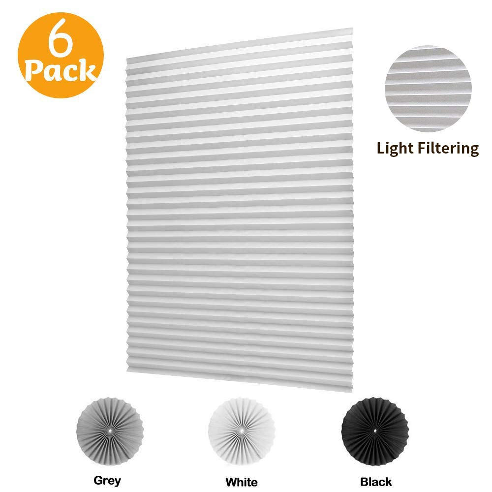 LUCKUP 6 Pack Cordless Light Filtering Pleated Fabric Shade,Easy to Cut and Install, with 12 Clips (36''x72'' - 6 Pack, White) by LUCKUP