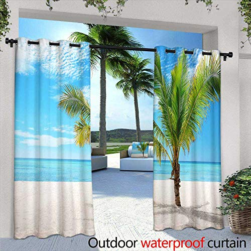 (Lightly Balcony Curtains,Beautiful Closeup Winter Window Pane Coated Shiny ICY Frost Patterns,W72 x L84 Outdoor Curtain for Patio,Outdoor Patio Curtains)