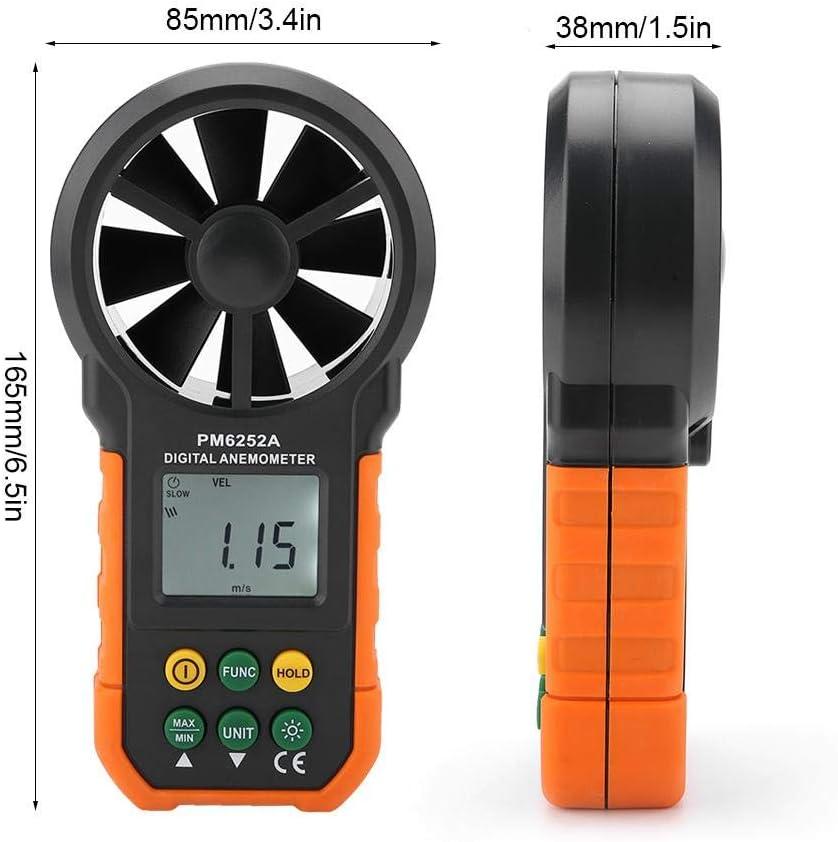 misurazione della velocit/à del flusso daria portatile Misuratore digitale della velocit/à del vento LCD portatile per escursionismo vela Mini anemometro sistema di ventilazione pilota di droni