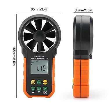 Anemómetro, PEAKMETER PM6252A Anemómetro digital Medidor de velocidad del viento de mano Medición del volumen de aire con luz de fondo y máx.