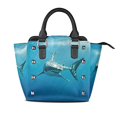 e22748554d Sunlome Underwater Thrilling Shark Pattern Women s Leather Tote Shoulder Bags  Handbags