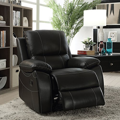 Furniture of America Neler Contemporary Black Top Grain Leather Match Recliner - Plush Leather Match Upholstery