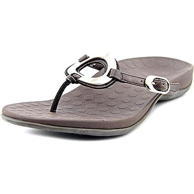 Orthaheel Womens Yolanda Flip Flop Dress Sandal Shoes, Chocolate, US 9