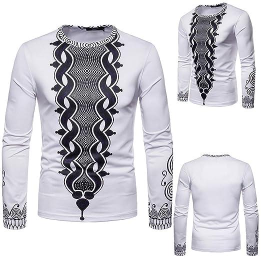 YanHoo Top Cuello Redondo de Mangas largas Camiseta de Manga Larga Dashiki O-Neck de Manga Larga Estampada Africana 3D otoño de los Hombres Estampado de ...