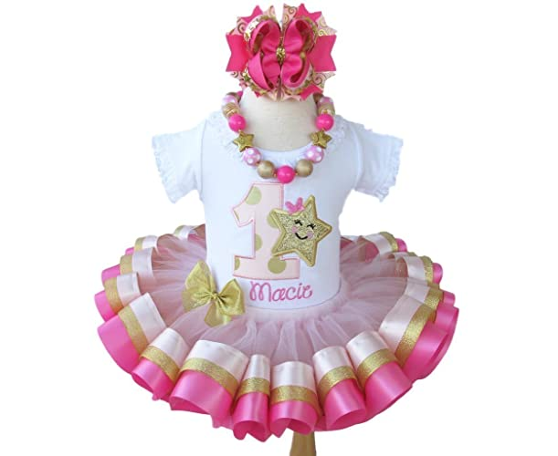 b527fc424 Amazon.com: Girls Pink and Gold Twinkle Little Star Birthday Outfit with  Personalized Shirt and Ribbon Trim Tutu: Handmade