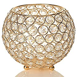 Gold Crystal Bowl Candle Holder
