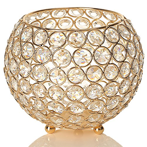 50th Anniversary Votive Holder - VINCIGANT Gold Crystal Bowl Candle Holder for Coffee Table Mantle Decor,Living Room or Dining Table Decorative Vases Centerpiece
