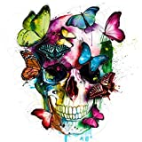 Diamond Painting Full Square 5D DIY Drill Butterfly Skull Cartoon Rhinestone Embroidery Arts Craft Paint-by-Number Kits Cross Stitch for Home Wall Decoration 12X16 inches (Butterfly Skull)