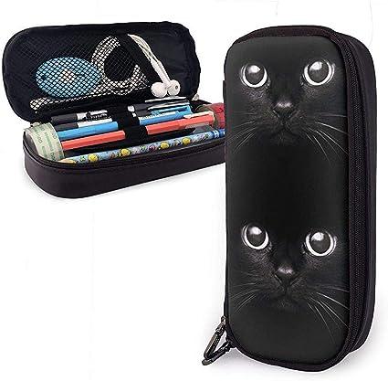 Estuche de lápices de cuero multifunción de gato negro Estuche de lápices Bolso de maquillaje: Amazon.es: Oficina y papelería