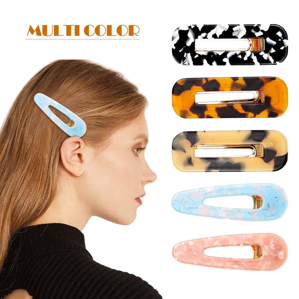 Alligator Hair Clips for Women - Tortoise Shell Resin Hair Clip Large Hair Barrettes Accessories (5 Pcs Multicolor)