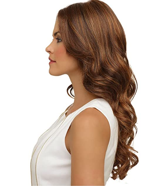 Ware Black Brown Medium Spiral Weave Long Full Curly Wig Hair With
