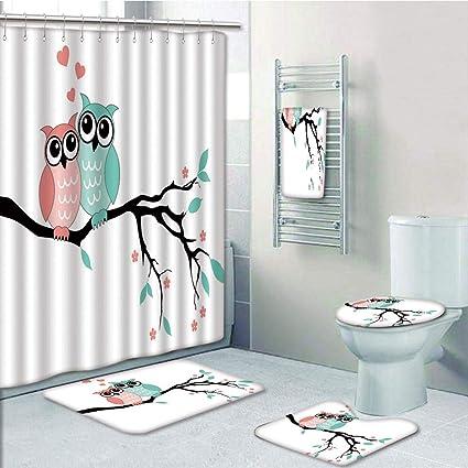 Amazon Bathroom Fashion 5 Piece Set Shower Curtain 3d Print