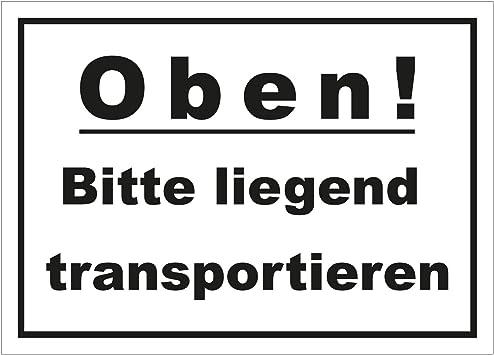 Aufkleber Oben wei/ß//schwarz Haftpapier Paketaufkleber Versandaufkleber Bitte liegend transportieren 148 x 105 mm 500 Stk