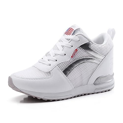 a58d69a5633b7 LFEU Chaussure Femme Basket Mode Compensé, Montante à l intérieur 3.5 CM,  Sneakers