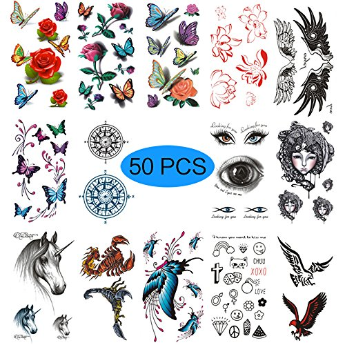 50 Sheets Waterproof 3D Temporary Tattoo - Removable Fashion Body Art Stickers -Butterfly, rose, glasses pattern,halloween scar wound、skeleton magic, animal dragon, crown cross diamonds