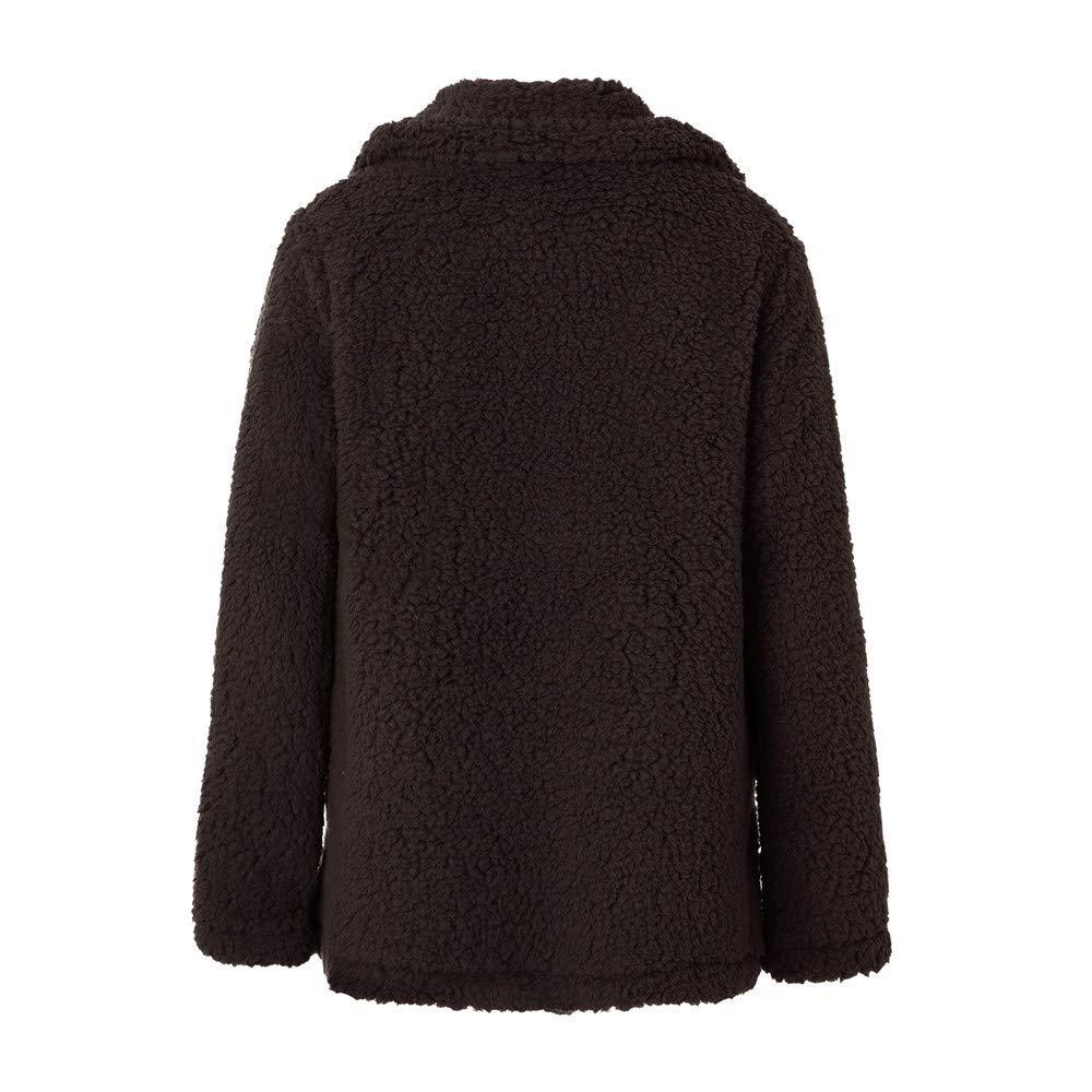 8d883fc454fe30 Dienstkleidung & Handschuhe Damen Plus Size Pocket Wollmantel Plüsch  Strickjacke Revers Faux Für Lose FRAUIT Frauen ...
