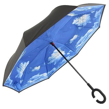 Paraguas plegable coche del revés C doble grande Para hombres y mujeres Sombrilla plegable doble mango