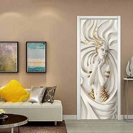 esthétique de luxe où puis je acheter style moderne Manyo. 2 Pcs Stickers Porte Chambre 3D, Autocollants de Porte Stéréo 3D-  Déesse, Papier Peint Adhesif Porte Trompe l'oeil Mural 77 x 200 cm