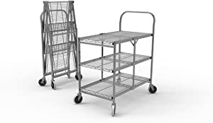 Luxor WSCC-3 Three-Shelf Collapsible Wire Utility Cart