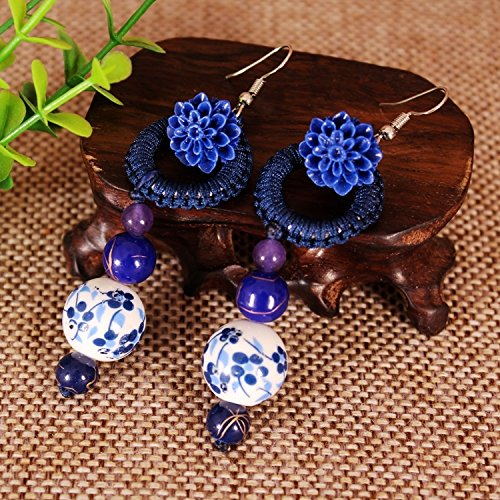 usongs Yunnan national wind retro earrings ceramic earrings handmade ethnic jewelry long section cotton Accessories