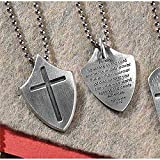 RELIGIOUS JEWELRY FOR MEN OR WOMEN, Pewter Necklace Shield/Cross with 21 inch Chain