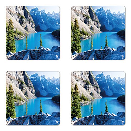 Lunarable Nature Coaster Set of Four, Moraine Lake Banff National Park Canada Mountains Pines Valley of The Ten Peaks, Square Hardboard Gloss Coasters for Drinks, Blue Green Grey