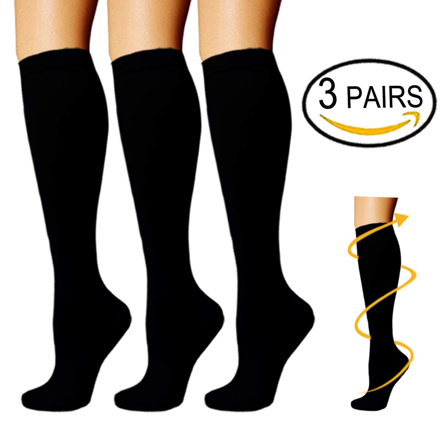 Compression Socks For Men & Women (3 Pairs) - BEST For Running,Pregnancy and Travel (Large/X-Large, 3 Pack - Black)