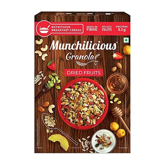Munchilicious Granola Cereal - Dried Fruits (Pineapple, Strawberry and Apricot) - 500 gm