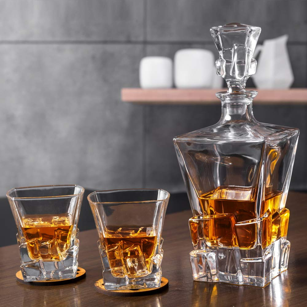 KANARS Iceberg Whiskey Decanter Set With 4 Glasses In Luxury Gift Box - Original Lead Free Crystal Liquor Decanter Set For Scotch or Bourbon, 5-Piece by KANARS (Image #9)