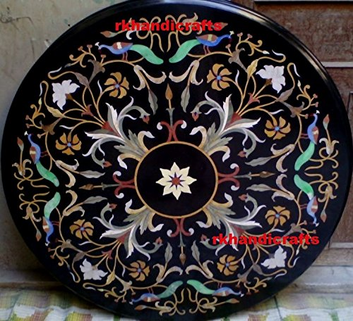 rkhandicrafts 48'' Round Black Marble Restaurant Table Top Pietra Dura Art Inlay Floral Design