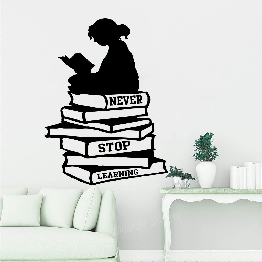 com wall stickergirl reading books never stop learning